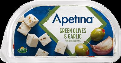 Snack Vihreät oliivit ja valkosipuli