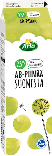 Arla® Vähälaktoosista AB-piimää 2,5 % Suomesta 1 l