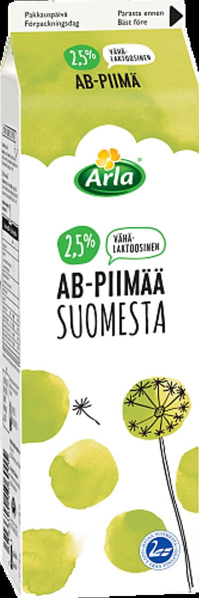 Vähälaktoosista AB-piimää 2,5 % Suomesta
