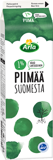 1% vähälaktoosista piimää Suomesta