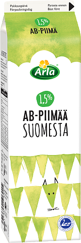 Arla® AB-piimä Suomesta 1,5 % 1 l